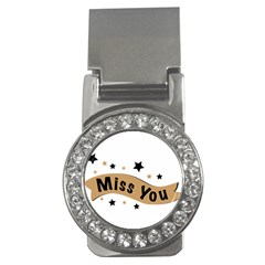 Lettering Miss You Banner Money Clips (cz)