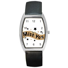 Lettering Miss You Banner Barrel Style Metal Watch