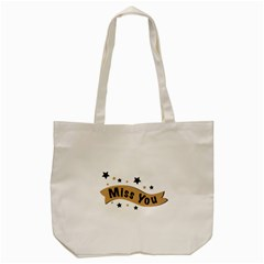 Lettering Miss You Banner Tote Bag (cream)