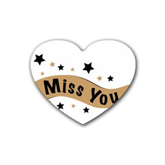 Lettering Miss You Banner Rubber Coaster (heart)