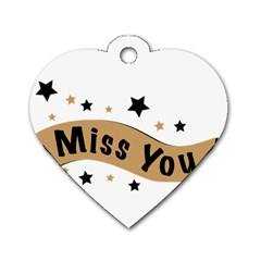 Lettering Miss You Banner Dog Tag Heart (one Side)