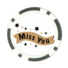 Lettering Miss You Banner Poker Chip Card Guard