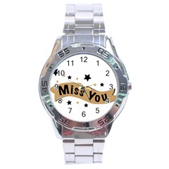 Lettering Miss You Banner Stainless Steel Analogue Watch
