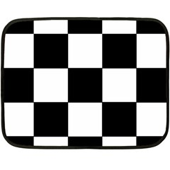 Grid Domino Bank And Black Double Sided Fleece Blanket (mini)