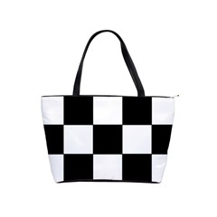 Grid Domino Bank And Black Shoulder Handbags