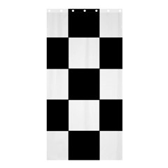 Grid Domino Bank And Black Shower Curtain 36  X 72  (stall)