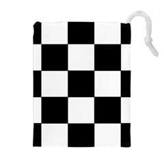 Grid Domino Bank And Black Drawstring Pouches (extra Large)
