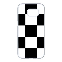Grid Domino Bank And Black Samsung Galaxy S7 Edge White Seamless Case