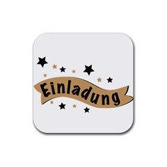 Einladung Lettering Invitation Banner Rubber Square Coaster (4 Pack)