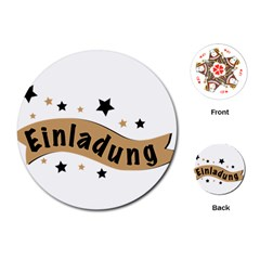 Einladung Lettering Invitation Banner Playing Cards (round)