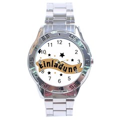 Einladung Lettering Invitation Banner Stainless Steel Analogue Watch