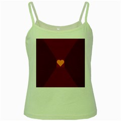 Heart Red Yellow Love Card Design Green Spaghetti Tank