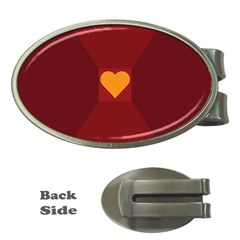 Heart Red Yellow Love Card Design Money Clips (oval)