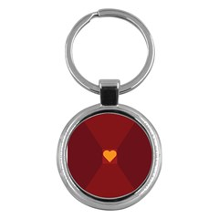 Heart Red Yellow Love Card Design Key Chains (round)