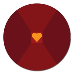 Heart Red Yellow Love Card Design Magnet 5  (round)