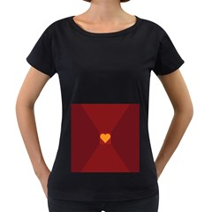 Heart Red Yellow Love Card Design Women s Loose Fit T Shirt (black)