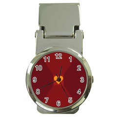 Heart Red Yellow Love Card Design Money Clip Watches