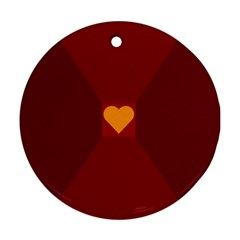 Heart Red Yellow Love Card Design Round Ornament (two Sides)