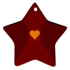 Heart Red Yellow Love Card Design Star Ornament (two Sides)