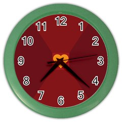 Heart Red Yellow Love Card Design Color Wall Clocks