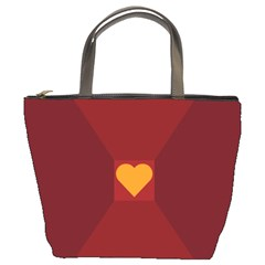 Heart Red Yellow Love Card Design Bucket Bags