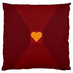 Heart Red Yellow Love Card Design Large Cushion Case (two Sides)