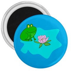 Frog Flower Lilypad Lily Pad Water 3  Magnets