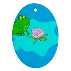Frog Flower Lilypad Lily Pad Water Ornament (oval)