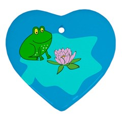Frog Flower Lilypad Lily Pad Water Ornament (heart)