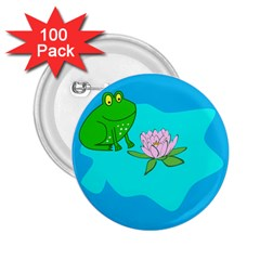 Frog Flower Lilypad Lily Pad Water 2 25  Buttons (100 Pack)