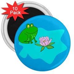 Frog Flower Lilypad Lily Pad Water 3  Magnets (10 Pack)