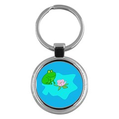 Frog Flower Lilypad Lily Pad Water Key Chains (round)