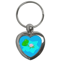 Frog Flower Lilypad Lily Pad Water Key Chains (heart)