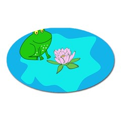Frog Flower Lilypad Lily Pad Water Oval Magnet