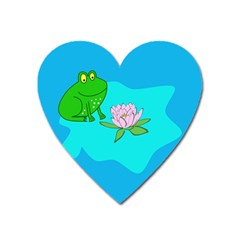 Frog Flower Lilypad Lily Pad Water Heart Magnet