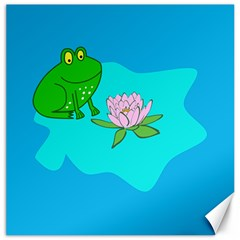 Frog Flower Lilypad Lily Pad Water Canvas 12  X 12
