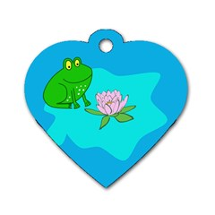 Frog Flower Lilypad Lily Pad Water Dog Tag Heart (one Side)