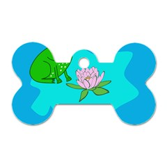 Frog Flower Lilypad Lily Pad Water Dog Tag Bone (one Side)