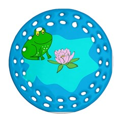 Frog Flower Lilypad Lily Pad Water Round Filigree Ornament (two Sides)