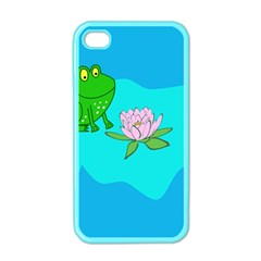 Frog Flower Lilypad Lily Pad Water Apple Iphone 4 Case (color)