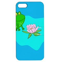 Frog Flower Lilypad Lily Pad Water Apple Iphone 5 Hardshell Case With Stand