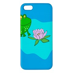 Frog Flower Lilypad Lily Pad Water Apple Iphone 5 Premium Hardshell Case