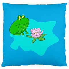 Frog Flower Lilypad Lily Pad Water Standard Flano Cushion Case (two Sides)