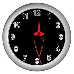 Ship Space Spaceship Wall Clocks (silver)