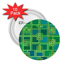Green Abstract Geometric 2 25  Buttons (10 Pack)