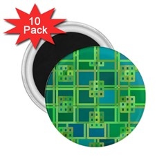 Green Abstract Geometric 2 25  Magnets (10 Pack)