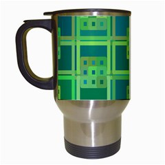 Green Abstract Geometric Travel Mugs (white)