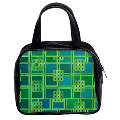 Green Abstract Geometric Classic Handbags (2 Sides)
