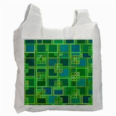 Green Abstract Geometric Recycle Bag (one Side)
