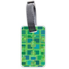 Green Abstract Geometric Luggage Tags (one Side)